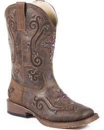 Roper Kid's Brown Faux Leather Cross Faith Western Boots, , hi-res