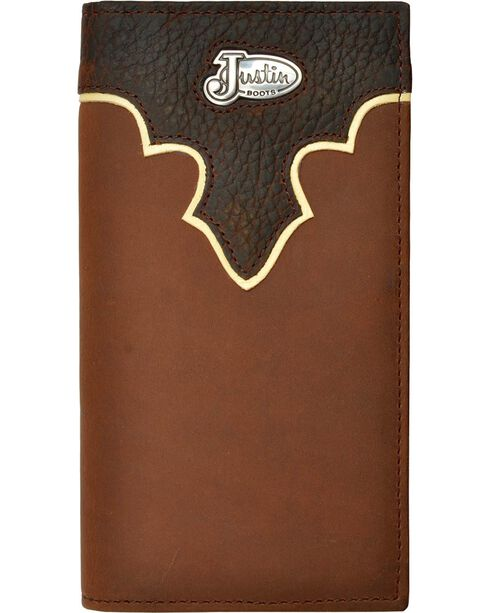 Justin Leather Overlay & Concho Rodeo Wallet, Tan, hi-res