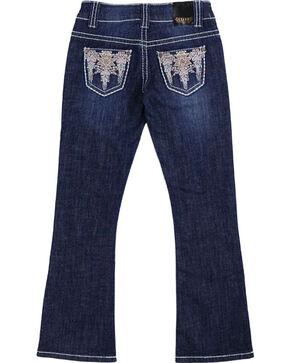 Shyanne® Girls' Aztec Embroidered Boot Cut Jeans, Blue, hi-res