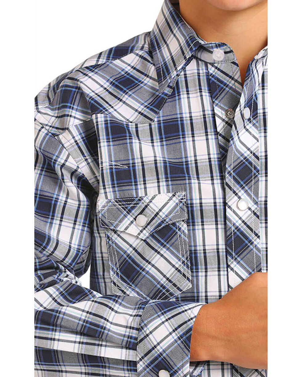 Rock & Roll Cowboy Boys' Blue Plaid Long Sleeve Snap Shirt, Blue, hi-res