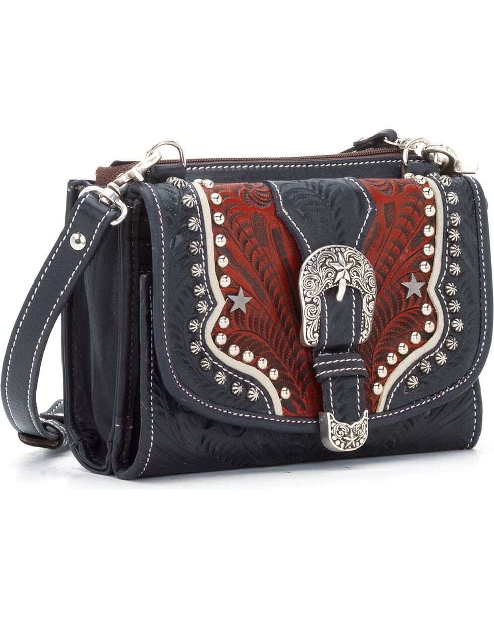 American West Women's Texas Two-Step Wallet Clutch, Red, hi-res