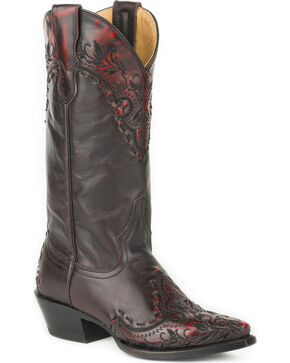 Roper Women's Black Mercie Western Boots - Snip Toe , Black, hi-res