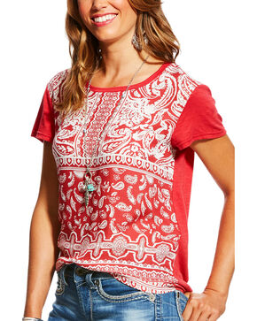 Ariat Women's Samantha Mixed Print Tee, Light Red, hi-res
