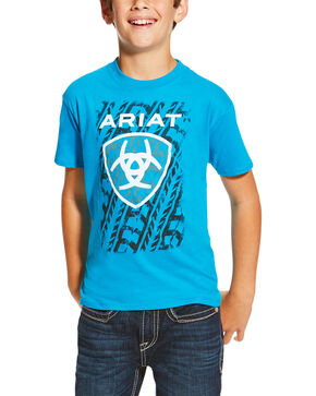 Ariat Boys' Tractor Tracks Tee, Turquoise, hi-res