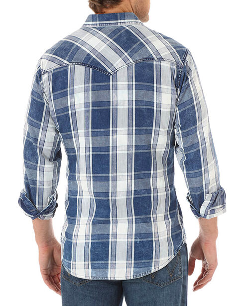 Wrangler Retro Men's Distressed Plaid Long Sleeve Shirt, Blue, hi-res