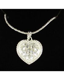Lightning Ridge Roped Edge Rhinestone Heart Charm Necklace, , hi-res