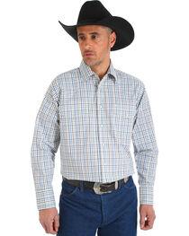 Wrangler Men's Wrinkle Resistant White Plaid Shirt - Big and Tall , , hi-res