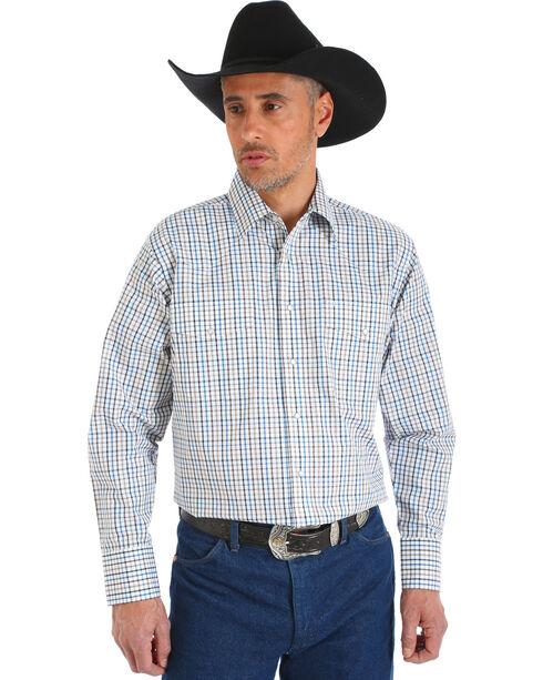 Wrangler Men's Wrinkle Resistant White Plaid Shirt - Big and Tall , White, hi-res