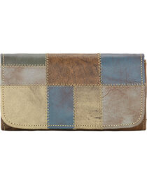 American West Women's Distressed Charcoal Brown Tri-Fold Wallet , , hi-res
