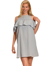 Polagram Women's Cold Shoulder Ruffle Dress , , hi-res