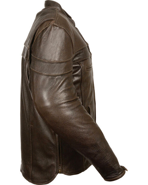 Milwaukee Leather Men's Brown Sporty Scooter Crossover Jacket, Brown, hi-res