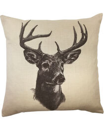 HiEnd Accents Whitetail Deer Print Linen Pillow, , hi-res