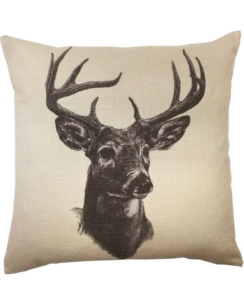 HiEnd Accents Whitetail Deer Print Linen Pillow, Multi, hi-res
