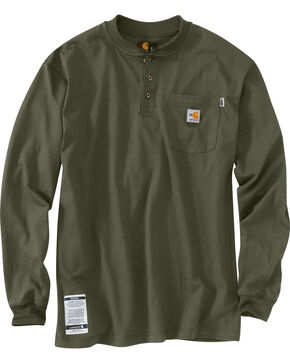 Carhartt Flame Resistant Force Cotton Henley Shirt, Moss, hi-res