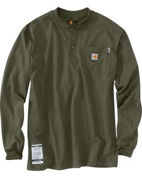 Carhartt Flame Resistant Force Cotton Henley Shirt - Big & Tall, Moss, hi-res