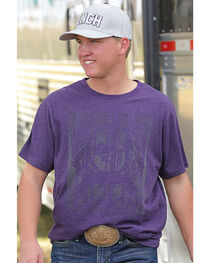 Cinch Men's Purple Short Sleeve Heathered Jersey Tee , , hi-res
