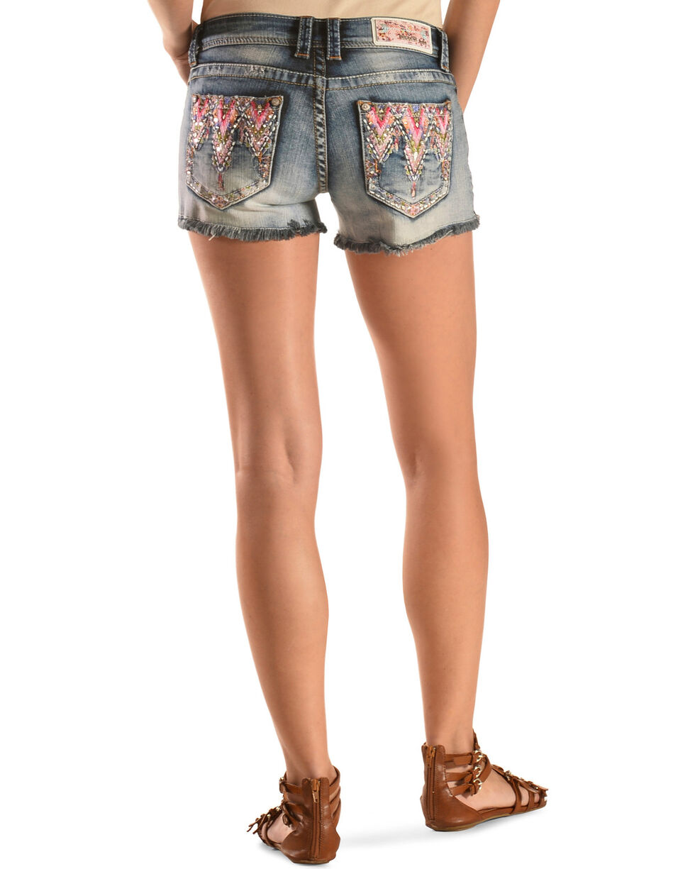 Grace in L.A. Women's Victoria Embroidered Denim Shorts, Blue, hi-res