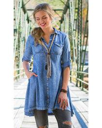 Ryan Michael Women's Indigo Tencel Swing Dress , , hi-res