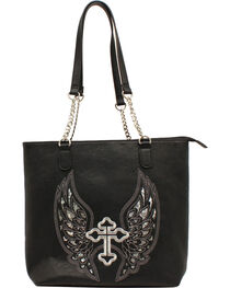 Blazin Roxx Women's Silver Cross and Wings Shoulder Bag, Black, hi-res