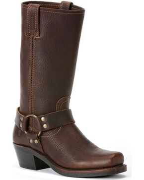 "Frye Women's Metal Harness 12"" Motorcycle Boots, Brown, hi-res"