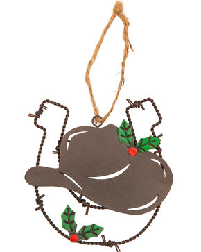 BB Ranch Barbed Wire Horseshoe and Cowboy Hat Ornament , No Color, hi-res