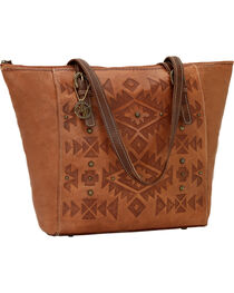 American West Leather Mystic Shadow Bucket Tote, , hi-res