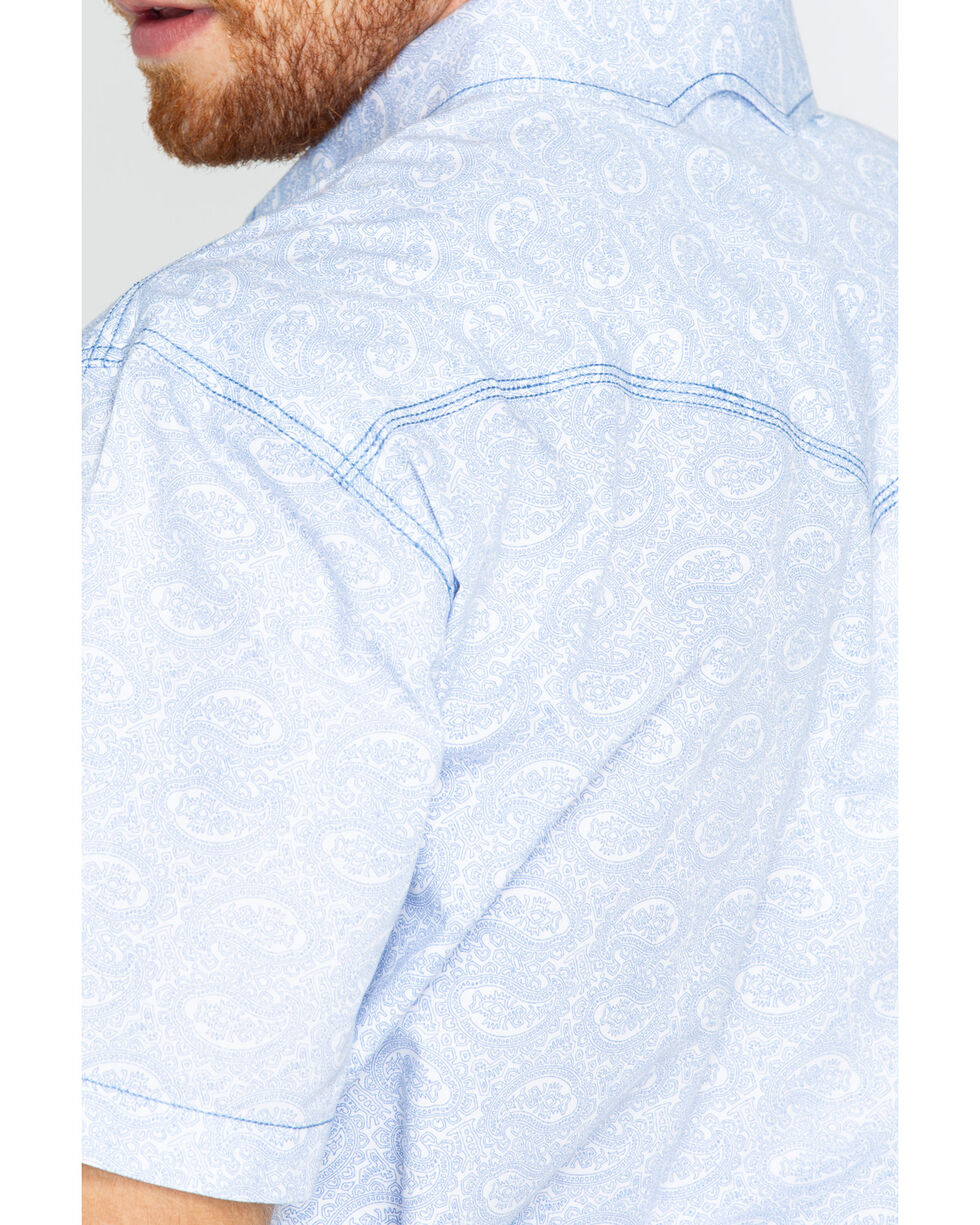 Moonshine Spirit Men's Aztec Paisley Short Sleeve Western Shirt, Light Blue, hi-res
