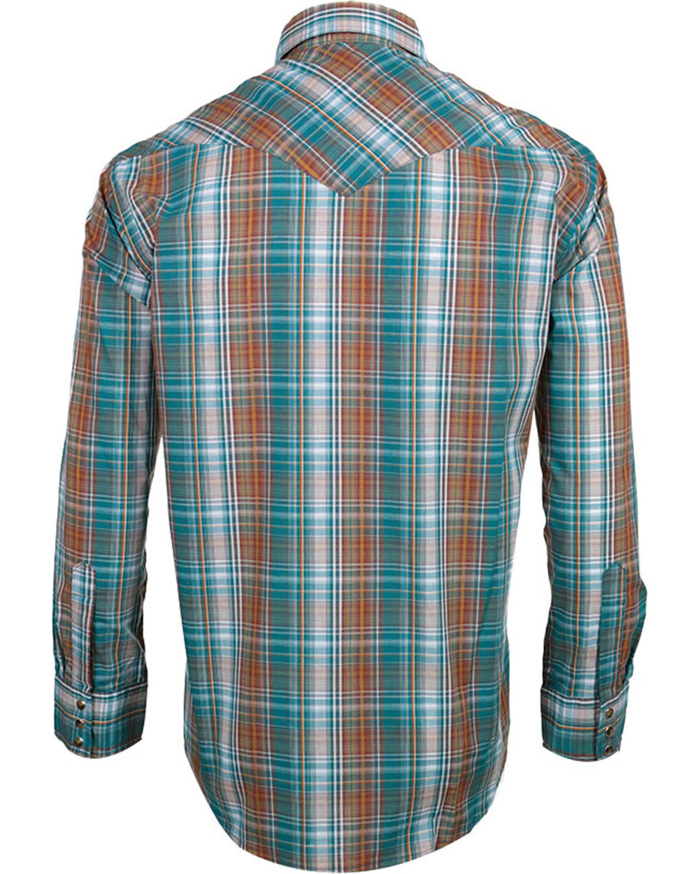 Pendleton Men's Plaid Long Sleeve Western Shirt, Turquoise, hi-res