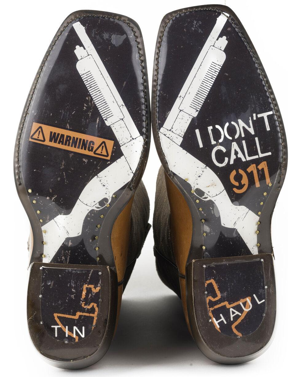 Tin Haul Men's No Trespassing Shotgun Sole Cowboy Boots - Square Toe, Brown, hi-res