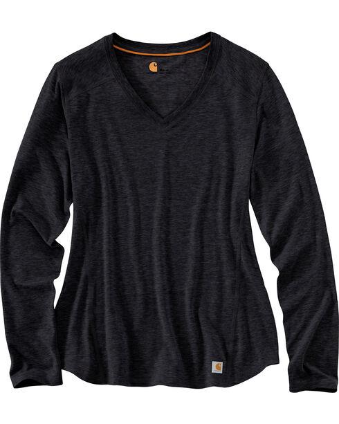 Carhartt Women's Force Long Sleeve Shirt, Black, hi-res