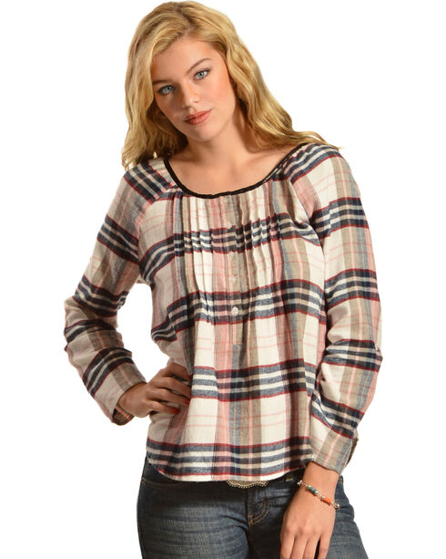 Red Ranch Multi-Color Plaid Pleather Trim Pleated Flannel Top , Blue Multi, hi-res