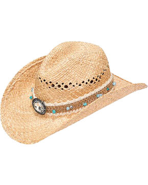 Blazin Roxx Women's Raffia Woven with Stone Band Straw Hat, Natural, hi-res