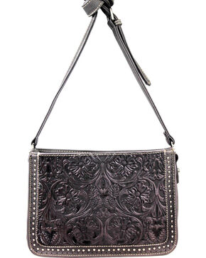 Montana West Trinity Ranch Tooled Design Collection Messenger Bag, Black, hi-res