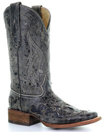 Corral Women's Square Toe Black Snake Inlay Exotic Boots, , hi-res