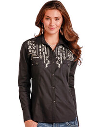 Panhandle Slim Women's Black Long Sleeve Two Pocket Shirt - Plus Size, , hi-res