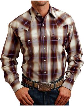 Stetson Men's Washed Plaid Long Sleeve Shirt, Cream, hi-res