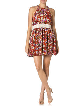 Miss Me Mauve Floral Print Dress , Mauve, hi-res