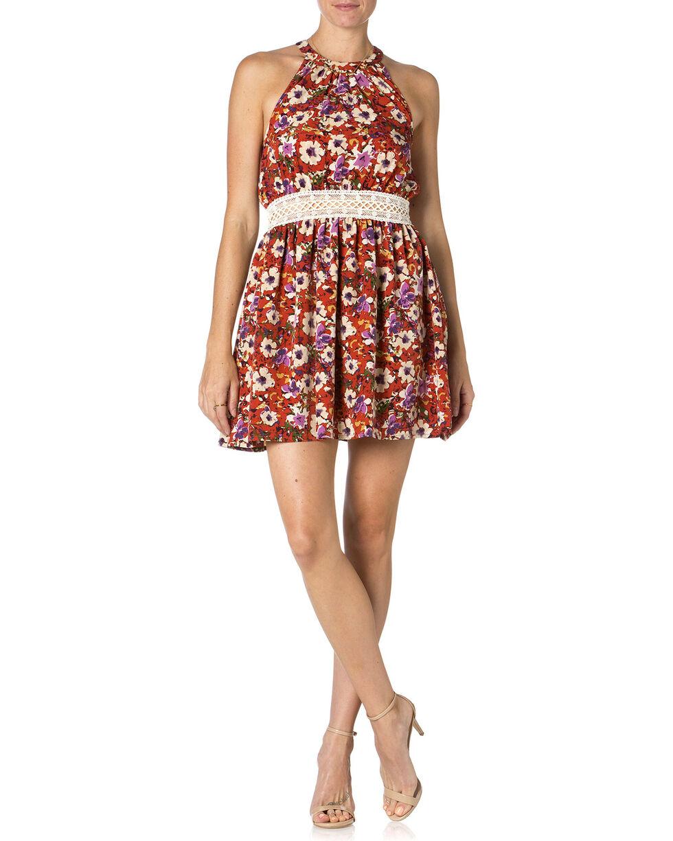 Miss Me Mauve Floral Print Dress , Mauve, hi-res