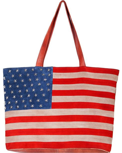 Scully Women's Suede American Flag Handbag, Patriotic, hi-res