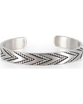 Cody James® Men's Silver Twisted Rope and Chevron Cuff , Silver, hi-res