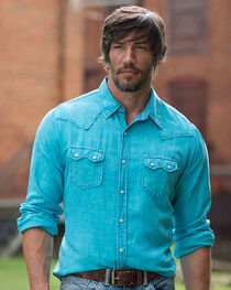 Ryan Michael Men's Neon Blue Saw Tooth Silk Linen Shirt, , hi-res