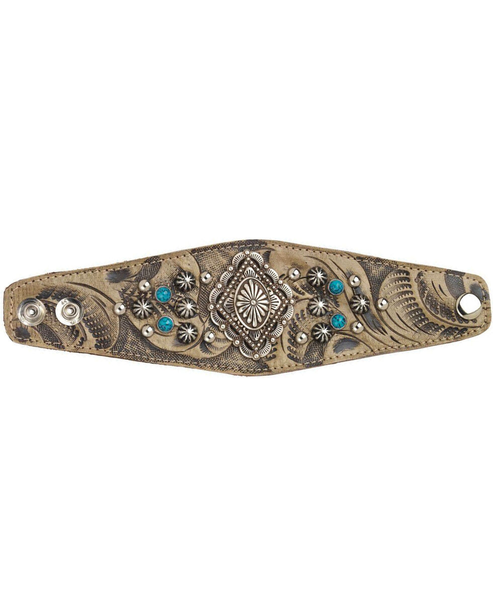 American West Women's Sand Diamond Concho Wide Cuff Bracelet , Sand, hi-res