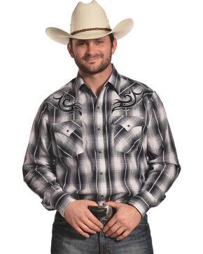 Ely Cattleman Men's Black Embroidered Plaid Shirt , Black, hi-res