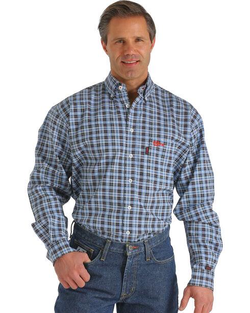 Cinch Men's FR Plaid Long Sleeve Work Shirt, Blue, hi-res