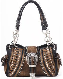 Shyanne Women's Buckle Double Chain Whipstitch Bag - Café, , hi-res