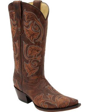 Corral Women's Floral Western Boots, Brown, hi-res