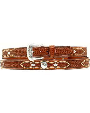 Nocona Basketweave Concho Leather Belt, Natural, hi-res