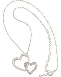 Montana Silversmiths Women's Double Heart Necklace, , hi-res