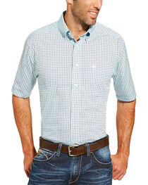 Ariat Men's Light Blue Freeport Print Short Sleeve Shirt, , hi-res
