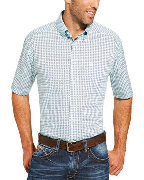 Ariat Men's Light Blue Freeport Print Short Sleeve Shirt, Light Blue, hi-res